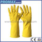 Flocklinedの黄色い防水世帯の乳液の手袋