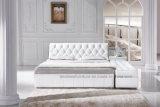 ベンチが付いているA561王Size Fancy Design Leatherのベッドおよび側面の引出し