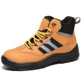 Высокая лодыжки обувь желтый защитные ботинки из натуральной кожи
