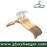 Gancho de roupa de madeira da fábrica do gancho/de bambu laminado venda por atacado com ombro antiderrapante