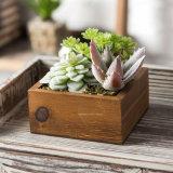 Flor de madera rústica Caja de la sembradora de suculentas Artificial