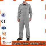 Combinaison 100% antiacide grise d'OEM de coton d'usine avec la chemise courte