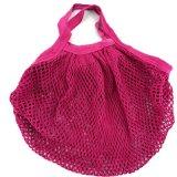Sac rouge de maille de réseau de coton de Rose pour la plage et les achats