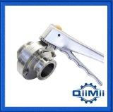 Válvula Borboleta de Aço Inoxidável 304, 316L Sanitário, de Operação Manual / Pneumática