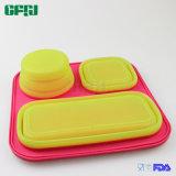 3 FDA van het Bewijs van het Lek van het compartiment Lunchbox van het Dienblad van het Silicone
