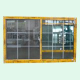 格子の粉の上塗を施してある三日月形ロックのアルミニウムスライディングウインドウ、アルミニウムWindows K01086