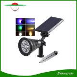 RGB는 변화 옥외 태양 정원 반점 빛 4 LED 백색 온난한 백색 RGB 태양 잔디밭 조경 램프를 착색한다