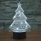 3D 환영 밤 빛 Chirstmas 나무 홈 훈장 책상용 램프
