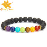 Lvb-16112810 10mm Black Color Lava Stone avec rose chat Eyestone Dog Charm Bracelet