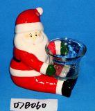 Cerámica Hand-Painted Santa con portavelas de vidrio