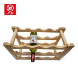 3 Tier 12 botella de madera de visualización de vinos de barras para uso decorativo