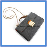 Мешок плеча с поясом металла (содержание шерстей 70%), мешок руки горячих повелительниц промотирования одиночный посыльного OEM чувствуемый шерстями вскользь