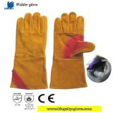 De gouden Handschoen van het Werk van het Lassen van het Leer van de Koe Gespleten (de Handschoen van het Lassen)
