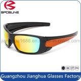Lueur colorée de lentille de sport en plein air de mode faite sur commande bon marché de lunettes de soleil bloquant les lunettes courantes de recyclage