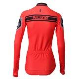 Рубашки втулки женщин мотива волка трикотажные изделия длинней задействуя красные с карманн
