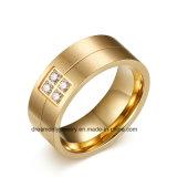 Nuevo Anillo de Acero Plateado de la Venta 18k Oro Caliente con Zircons