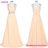En arrière long cristal fabriqué à la main ouvert neuf de Tulle de robes de soirée perlant des robes de bal d'étudiants