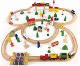 brinquedo ajustado do trem 100PCS de madeira para miúdos e crianças