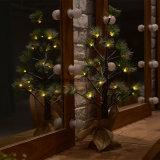 luz del árbol de la batería LED de la luz 3*AA del árbol de pino 24LED de los 60cm