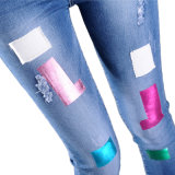 Papier d'aluminium d'or de couleur d'estampage de clinquant de clinquant chaud brillant de transfert thermique sur la culotte de papier de jeans