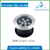 Alta potencia 9W LED de acero inoxidable bajo el agua