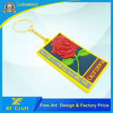 Profissional Custom Flower Shape / Empresa Logo PVC Rubber Plastic Chain Chain Ring for Souvenir (XF-KC-P07)
