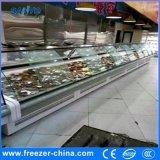 Puerta de vidrio curvo 2.5m Dele la carne del refrigerador de pantalla