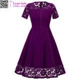 Abschlussball-Kleid L36173-2 der Spitze-rundes Stutzen-Kurzschluss-Hülsen-Prinzessin-A Line New Fashion