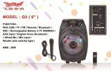 Haut-parleur rechargeable bon marché mini de Bluetooth de câble usb avec la lumière Q3