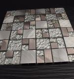 Azulejo de mosaico mezclado del metal del acero inoxidable de modelo del mosaico transparente del vidrio para la cocina Backsplash