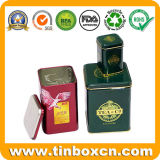 مربّعة معدن شاي قصدير مع يزيّن, [تا كدّي], قصدير صندوق