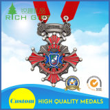 Su ordinazione promozionali rossi la medaglia in lega di zinco della pressofusione con l'alta qualità