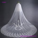 Estilo de la cola larga del velo de la boda del cordón de la novia 3 contadores de velo nupcial con el peine del pelo
