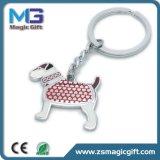Trousseau de clés blanc promotionnel en métal de prix de gros de qualité avec le logo fait sur commande