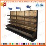 Métal et aménagement de mur en bois d'étalage de gondole de supermarché d'étagères (Zhs428)
