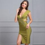 "V o vestido ""sexy"" do vestido da garganta derramou o vestido verde da atadura do vestido"
