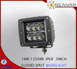 18W 1350LM luz LED de trabajo para la carretilla, SUV, 4X4