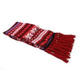 빨간 줄무늬 날실에 의하여 뜨개질을 하는 스카프 (JRI019)