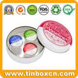 Caja redonda del estaño del regalo del metal del labio retro de la vaselina para los cosméticos