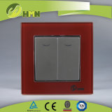 TUV CE CB Европейский стандарт сертифицированных закаленного стекла 2 токопроводящей дорожки 1 датчика с LED-коричневого цвета настенный переключатель