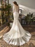 Casamento longo do vestido nupcial de vestido de noite da sereia do laço da luva