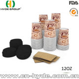 Custom printed one 12 Oz PAPER Cup for Hot drink with eyelid & Sleeve