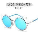 Femmes ronds de lunettes de soleil de lunetterie en métal de plot réflectorisé de diamant de mode