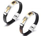 2017 de Nieuwe Armbanden van de Armbanden van het Leer van de Manier Bruine en Zwarte Pu voor Armbanden van de Charme van Mannen en van Vrouwen Retro Dwars