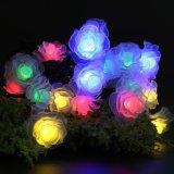 La stringa solare esterna illumina 50 indicatori luminosi decorativi del giardino del fiore del LED Rosa di natale esterno leggiadramente impermeabile di cerimonia nuziale
