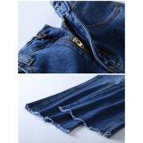 느슨한 다리 (HDLJ0049-18)를 가진 Denim Jeans 밝은 파란색 숙녀