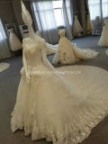 Desligar Aolanes Mermaid Champanhe Cristal Ombro vestido de casamento