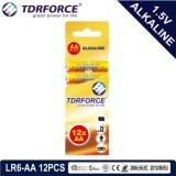 Bateria Seca alcalina com marcação aprovado para o brinquedo 16PCS em caixa de papelão (LR6-Tamanho AA)