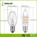 Bulbo caliente del blanco de la bombilla 2W (de la noche del LED C7 equivalente incandescente 15W) (3000K) E12 LED para la iluminación general