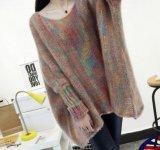 겨울 여자 다채로운 박쥐 소매 외투 느슨한 긴 스웨터 (BTQ209)